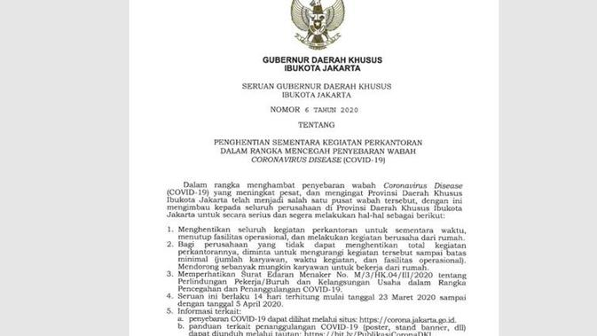Gambar Tangkapan Layar Surat Seruan Gubernur DKI Jakarta