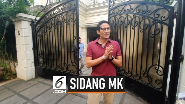 Calon Wakil Presiden Sandiaga Uno mengimbau pendukungnya tidak melakukan demonstrasi terkait sidang sengketa Pilpres 2019.