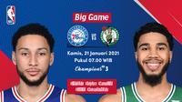 Live streaming NBA Sixers vs Celtics, Kamis (20/1/2021) pukul 07.00 WIB dapat disaksikan melalui platformVidio. (Dok. Vidio)