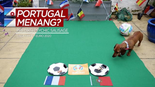 Berita video anjing Psychic Sausage memprediksi Timnas Portugal akan mengalahkan Timnas Prancis pada laga terakhirnya di Grup F Euro 2020.