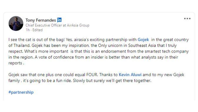 LinkedIn Tony Fernandes, CEO AirAsia Group.