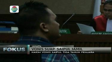 Terkait kasus suap panitera, pedangdut Saipul Jamil divonis 3 tahun penjara oleh Majelis Hakim Pengadilan Negeri Tipikor.