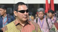 Hutomo Mandala Putra atau Tommy Soeharto saat menghadiri perayaan HUT ke-63 Kopassus, Jakarta, Rabu (29/4/2015). Tommy hadir sebagai undangan dengan status putra-putri Presiden. (Liputan6.com/Herman Zakharia)