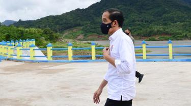 Presiden Joko Widodo atau Jokowi meresmikan Bendungan Napun Gete di Kabupaten Sikka, NTT, Selasa (23/2/2021).