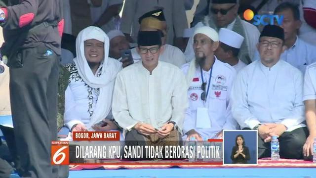Sandiaga Uno hadiri acara Bogor Bermunajat di Lapangan Parkir Taman Buah Mekarsari, Bogor.