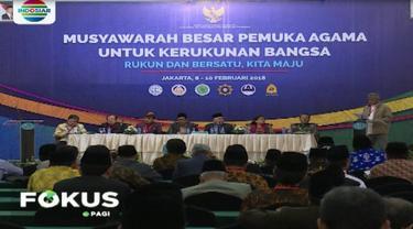 Ratusan peserta musyawarah besar pemuka agama untuk kerukunan bangsa, bersilaturahmi dengan Presiden Joko Widodo di Istana Bogor.