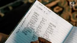 Nama jenazah terlihat saat pemindahan di TPU Grogol, Depok, Jawa Barat, (20/9). 525 makam di TPU tersebut dibongkar dan dipindahkan ke lokasi baru karena dilewati rencana pembangunan jalan tol Desari. (Liputan6.com/Immanuel Antonius)