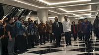 Presiden Jokowi hadiri ulang tahun ke-8 Partai Nasdem. (Liputan6.com/Yopi Makdori)