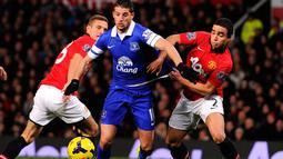 Aksi Kevin Mirallas melewati pemain bertahan Manchester United Rafael dan Nemaja Vidic (AFP/Andrew Yatez)