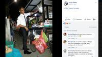 Gaya Necis Pedagang Bakso di Makassar. (Liputan6.com/Facebook Anya Daska)