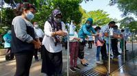 Peringatan hari cuci tangan pakai sabun sedunia di Taman Ekspresi Kota Bogor, Kamis  15 Oktober  2020. (Achmad Sudarno/Liputan6.com)
