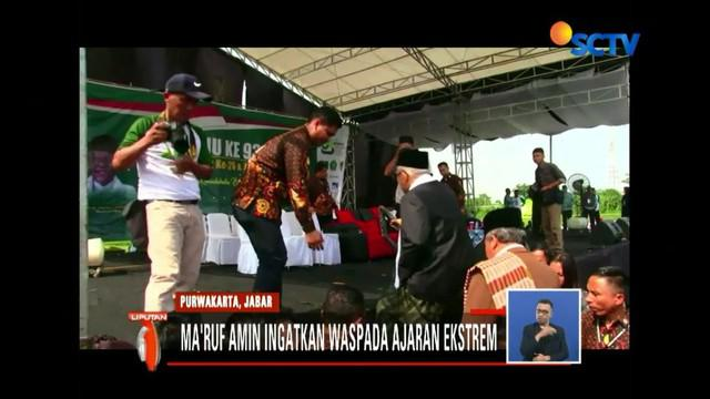 Sambani Ponpes Al Muhajirin Purwakarta, Ma'ruf Amin ingatkan satri waspada pada ajaran ekstrem.