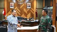 Ketua MPR Bamsoet bertemu Kepala Staf Angkatan Darat (KSAD) Jenderal TNI Andika Perkasa, di Ruang Kerja KSAD, Jakarta, Kamis (19/11/20).