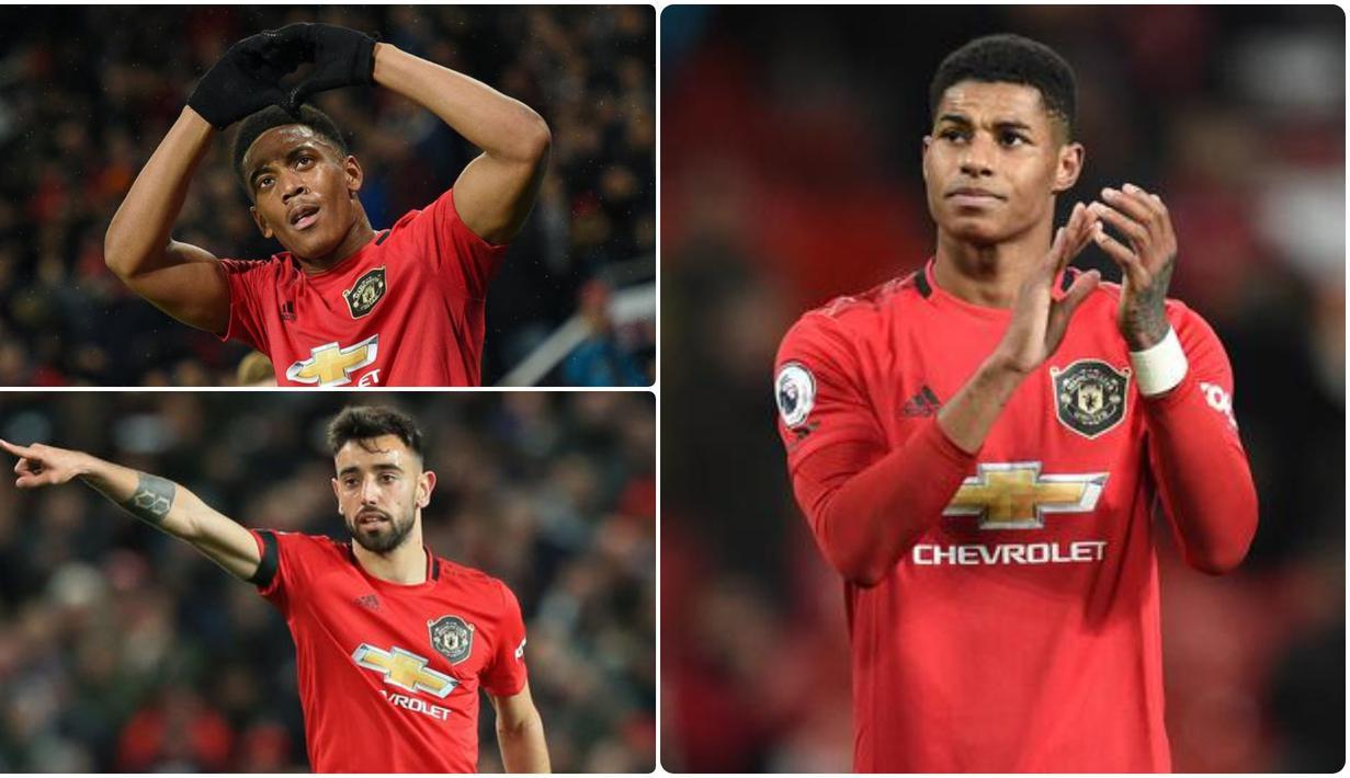Performa impresif Manchester United musim ini tidak lepas dari penampilan gemilang pemain mereka dan beberapa pemain tampil bagus serta konsisten sepanjang musim ini. Berikut lima pemain Manchester United dengan ranking terbaik pada musim 2019/2020. (kolase foto AFP)