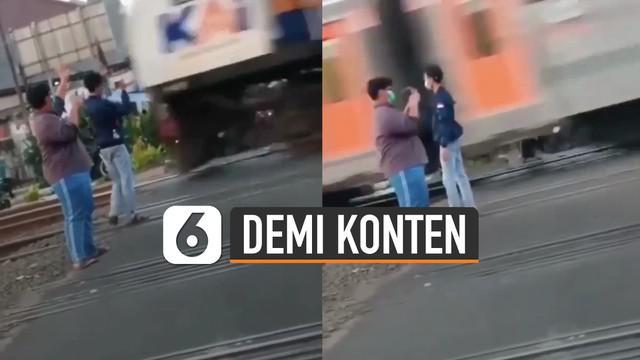 Beredar video tiga orang pemuda terobos palang kereta api demi sebuah konten.