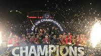 Perayaan gelar juara Piala AFF u-16 2018 yang didapat Timnas U-16 Indonesia. (Twitter/ASEAN Football)