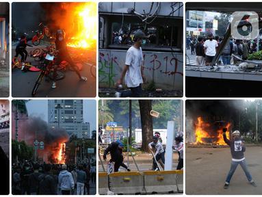 Foto kombinasi memperlihatkan aksi anarkis massa saat demonstrasi menolak UU Cipta Kerja di sejumlah wilayah Jakarta. (merdeka.com/Arie Basuki, Liputan6.com/Helmi Fithriansyah, Liputan6.com/Faizal Fanani)