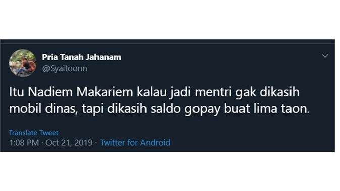 CEO Go-Jek Nadiem Makarim datang ke Istana, ini antusiasme netizen lewat meme kocak. (Sumber: Twitter/@Syaitoonn)