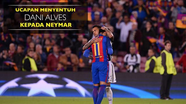 Berita video ucapan menyentuh Dani Alves kepada Neymar setelah Barcelona tersingkir dari Liga Champions 2016-2017. Blaugrana tersingkir setelah bermain imbang tanpa gol kontra Juventus pada leg II perempat final.