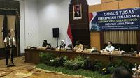 Sejumlah menteri dan Ketua Gugus Tugas Percepatan Penanganan Covid-19 Doni Monardo melakukan pertemuan dengan Pemprov Jatim di Gedung Negara Grahadi, Rabu, 24 Juni 2020. (Foto: Dok Istimewa)