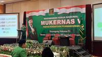 Ketua Umum Partai Persatuan Pembangunan (PPP) hasil mukhtamar Jakarta, Humphrey Djemat, Sabtu (30/11/2019). (Liputan6.com/ Putu Merta Surya Putra)