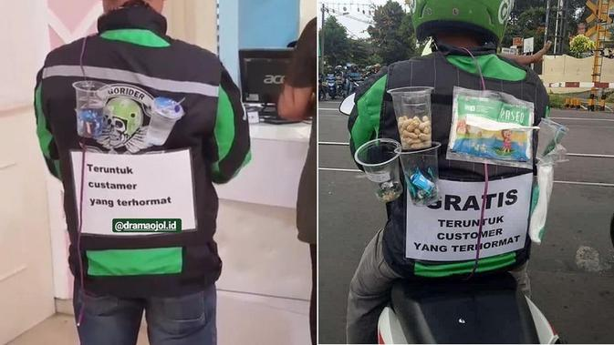 Driver Ojek Online Bagikan Makanan Gratis