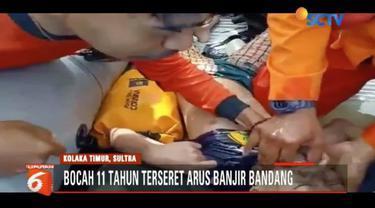 Penyelamatan seorang bocah yang terseret dalam banjir bandang di Kolaka Timur, Sulawesi Tenggara, berlangsung dramatis dan terekam kamera warga.