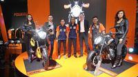 Jelang penutupan Jakarta Fair Kemayoran (JFK) 2019, PT Penta Jaya Laju Motor meluncurkan KTM 790 Duke dan KTM 790 Adventure. (Dian / Liputan6.com)