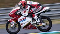 Andi Gilang saat mengikuti sesi kualifikasi Moto3 Prancis, Sabtu 15 Mei 2021. (Honda Team Asia)