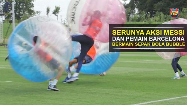 Video serunya aksi saling tubruk Lionel Messi dan pemain Barcelona lain dalam permainan sepak bola bubble.