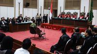 Suasana sidang lanjutan kasus dugaan penistaan agama dengan terdakwa Basuki Tjahaja Purnama atau Ahok di Auditorium Kementerian Pertanian, Jakarta, Kamis (20/4). Sidang ke-20 ini beragenda pembacaan tuntutan dari jaksa (Liputan6.com/Pool/Muhammad Adimaja)