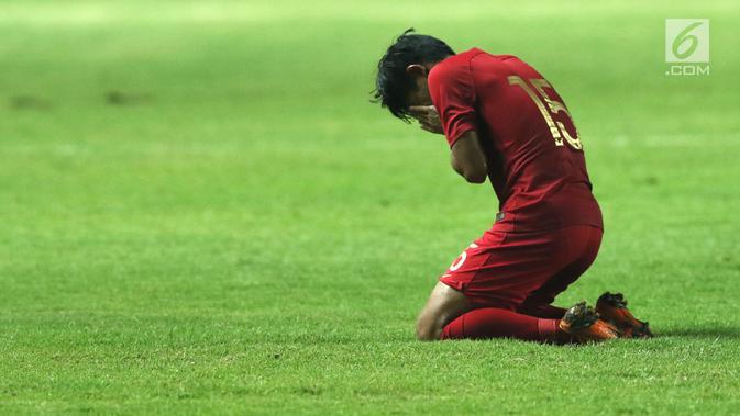 Bek Timnas Indonesia U-19. Firza Andika usai laga melawan China U-19