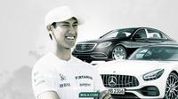Sean Gelael dengan mobil mewah Mercedes Maybach dan Mercedes AMG GT (Bola.com/Dody Iryawan)