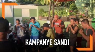 Cawapres Prabowo Sandiaga Uno akan berkampanye di Jembrana Bali dan Bima NTB. Sebelum kampanye Sandi berolahraga dan latihan tinju di Kuta Bali