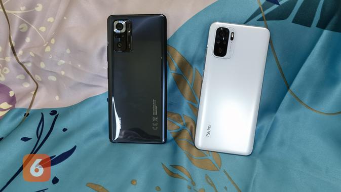 Redmi Note 10 Pro (hitam) dan Redmi Note 10 (Liputan6.com/ Agustin Setyo W).