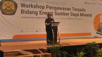 Inspektur Jendral KSDM Akhmad Syakhroza mengatakan, kegiatan workshop ini dilaksanakan untuk mengoptimalkan pengelolaan Sumber Daya Alam (SDA), yang diamanahkan ke KESDM (Liputan6.com / Nefri Inge)