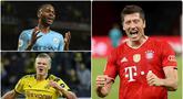 Penyerang Bayern Munchen, Robert Lewandowski, terus memuncaki daftar top skor sementara Liga Champions 2019/2020 usai menyumbangkan satu gol saat Bayern Munchen membatai Barcelona 8-2 di laga perempat final. Berikut top skor sementara Liga Champions musim ini. (kolase foto AFP)