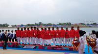 Tim Traditional Boat Race Indonesia di Asian Games 2018. (Bola.com/Riskha Prasetya)
