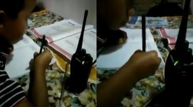 viral video murid belajar pakai HT