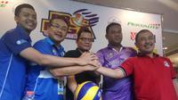 Perwakilan peserta final Proliga 2018 pada konferensi pers di Yogyakarta, Kamis (12/4/2018). (Liputan6.com/Switzy Sabandar)
