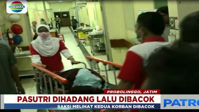 Sepasang suami istri di Probolinggo, Jawa Timur pada Senin malam dihadang lalu dibacok segerombolan orang, saat berboncengan sepeda motor.