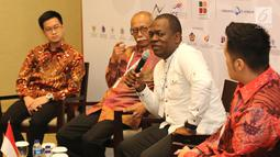 Honorary Council of Cameroon, Raul Rubel (kedua kanan) memberikan sambutan di hadapan pengusaha muda pada acara Delegation Meeting Trade Expo Indonesia di ICE BSD, Tangerang, Kamis (25/10). (Liputan6.com/Angga Yuniar)
