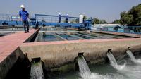 Petugas memantau kondisi air bersih di Instalasi Pengolahan Air (IPA) Pulogadung, Jakarta, Selasa (12/5/2015). BPK mendapati pemborosan air bersih senilai Rp791,2 miliar di 102 pemerintah kabupaten, kota dan PDAM (Liputan6.com/Faizal Fanani)
