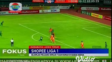 Pertandingan sengit antara Persebaya Surabaya dengan Borneo FC berlangsung dengan seru dan sportif, Persebaya Surabaya yang mendominasi sejak awal laga tetap belum mampu membobol pertahanan Borneo FC yang menggunakan strategi serangan balik.