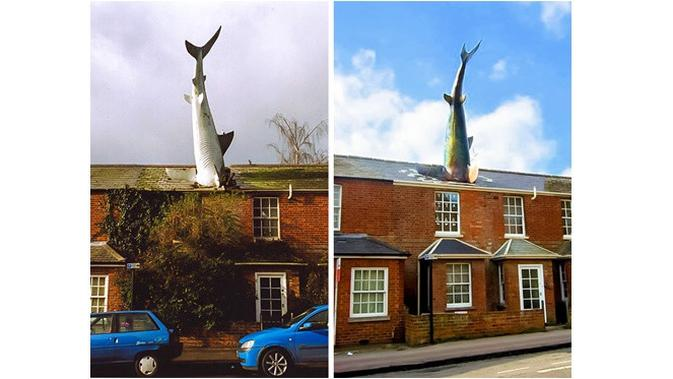 Patung Shark on the roof (Sumber: brightside)