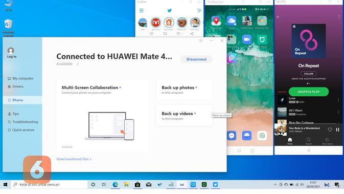 Fitur Multi-Screen Collaboration pada Huawei MateBook D15 (Liputan6.com/Agustin Setyo W).