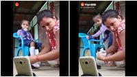 Terlalu asyik nonton YouTube, malah dikerjain anaknya (Sumber: Twitter/InIndiaOnly)