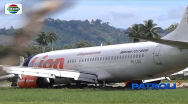 Badan pesawat Lion Air JT 892 yang tergelincir belum dievakuasi, Bandara Djalaludin, Gorontalo masih ditutup.