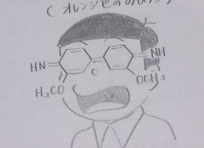 Corat-coret buku kimia, ubah bagan molekul jadi mirip tokoh Nobita pada anime Doraemon
