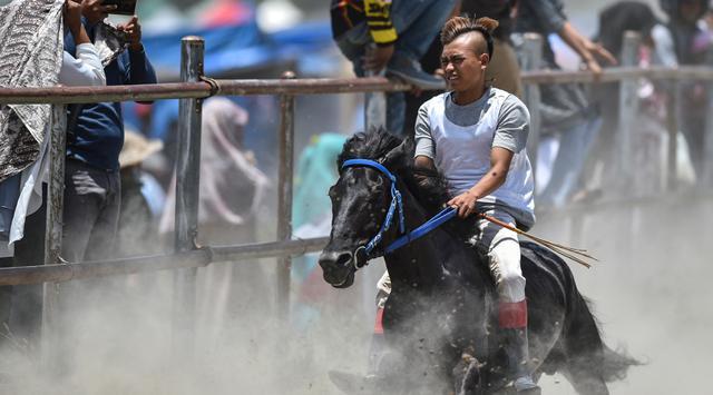 Seorang joki muda memacu kuda pada tradisi lomba pacuan kuda tradisional Gayo di Takengon, provinsi Aceh tengah, Sabtu (31/8/2019). Pacuan Kuda di daratan tinggi Gayo sejak zaman kolonial Belanda tersebut kini menjadi salah satu event wisata Kabupaten Aceh Tengah. (CHAIDEER MAHYUDDIN/AFP)